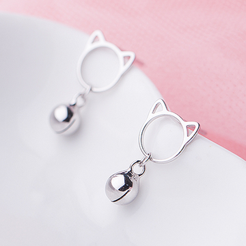 Modakawa Earrings Cat Bell / Ring Cat Bell Sterling Silver Stud Earrings