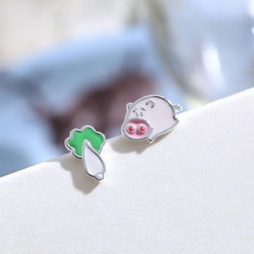 Modakawa Earrings Pig Cabbage / One Size Pig Cabbage 925 Sterling Silver Stud Earrings