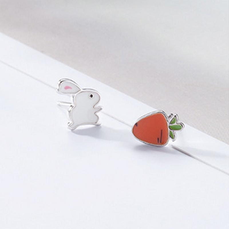 Modakawa Earrings Rabbit Carrot / One Size Rabbit Carrot 925 Sterling Silver Stud Earrings
