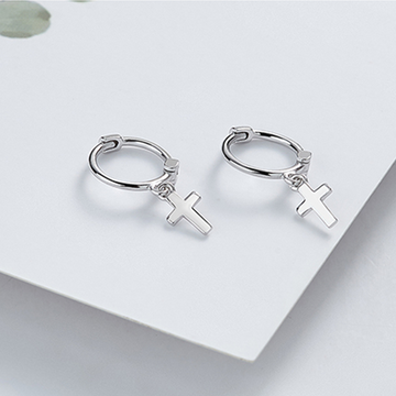 Modakawa Earrings Silver / One Size Cross 925 Sterling Silver Stud Earrings