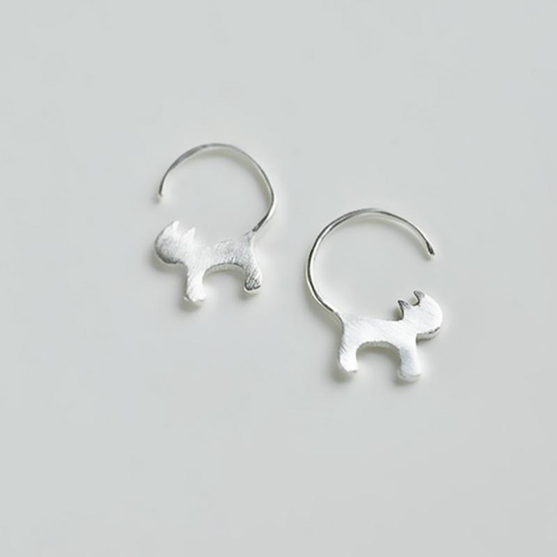 Modakawa Earrings Silver / One Size Cute Kitty 925 Sterling Silver Stud Earrings