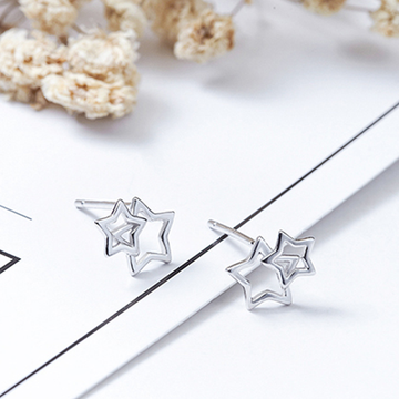 Modakawa Earrings Stars / One Size Little Cute Stars 925 Sterling Silver Stud Earrings