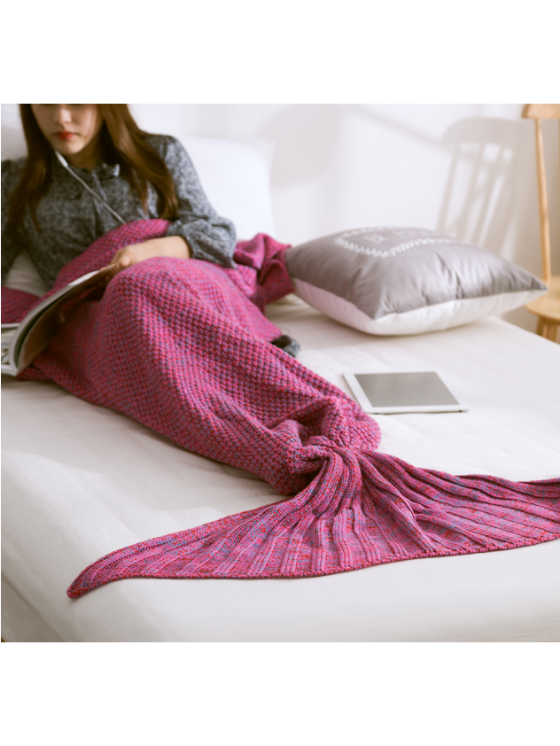 Modakawa Fuchsia Candy Colors Mermaid Tail Acrylic Blanket 80X180CM