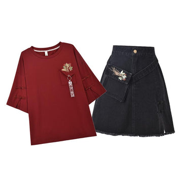 Modakawa Ginseng Embroidery Pocket Frog Button T-Shirt Skirt