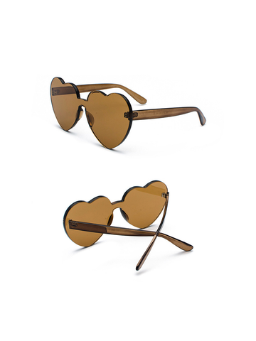 Modakawa Glasses Brown Ulzzang Borderless Retro Heart Sunglasses