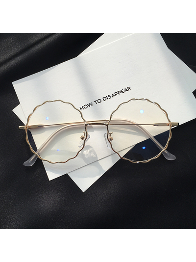 Modakawa Glasses Gold Chic Retro Big-Frame Glasses