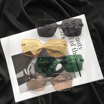 Modakawa Glasses Korean Retro Harajuku Borderless Sunglasses