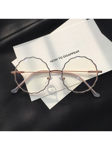 Modakawa Glasses Pink Chic Retro Big-Frame Glasses