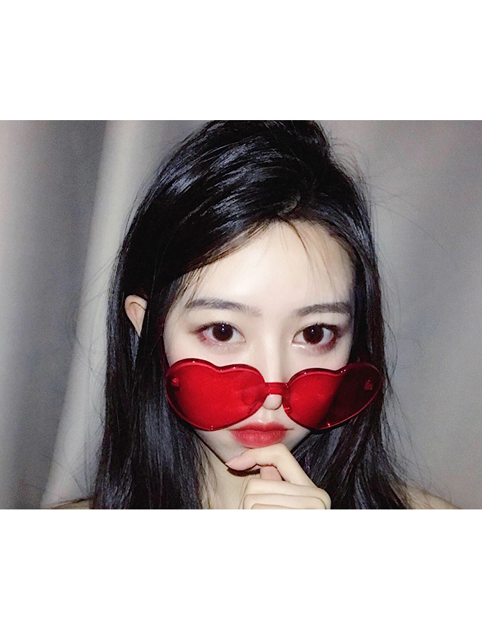 Modakawa Glasses Pink Ulzzang Borderless Retro Heart Sunglasses