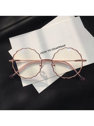 Modakawa Glasses Rose Gold Chic Retro Big-Frame Glasses