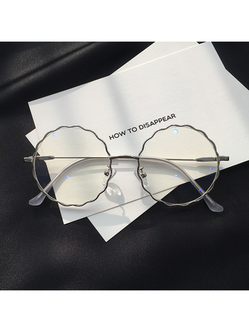 Modakawa Glasses Sliver Chic Retro Big-Frame Glasses