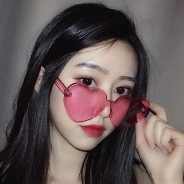 Modakawa Glasses Ulzzang Borderless Retro Heart Sunglasses