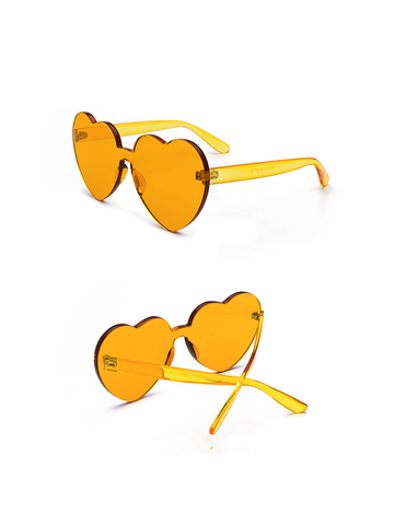 Modakawa Glasses Yellow Ulzzang Borderless Retro Heart Sunglasses