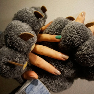 Modakawa Gloves Bear Claw Plush Warm Gloves