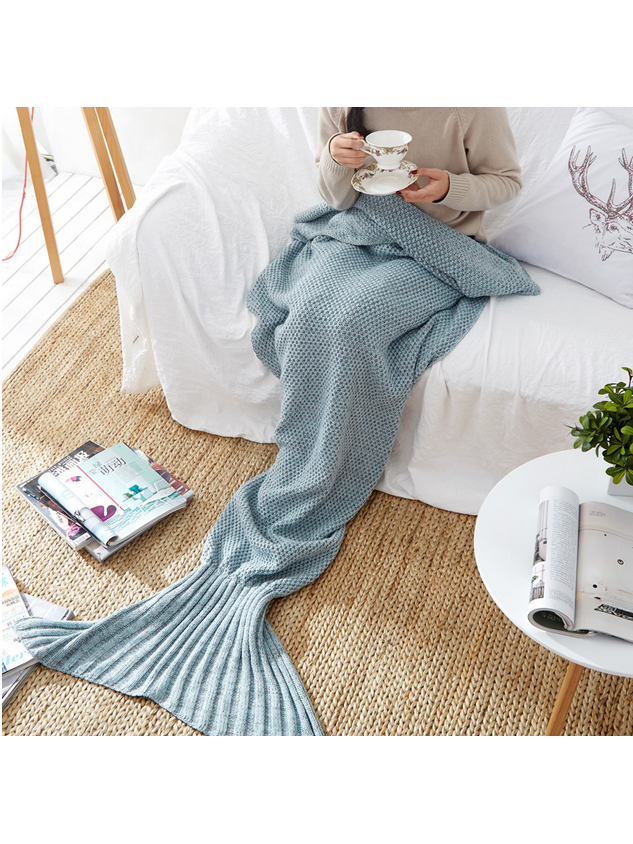 Modakawa Grey Blue Candy Colors Mermaid Tail Acrylic Blanket 80X180CM