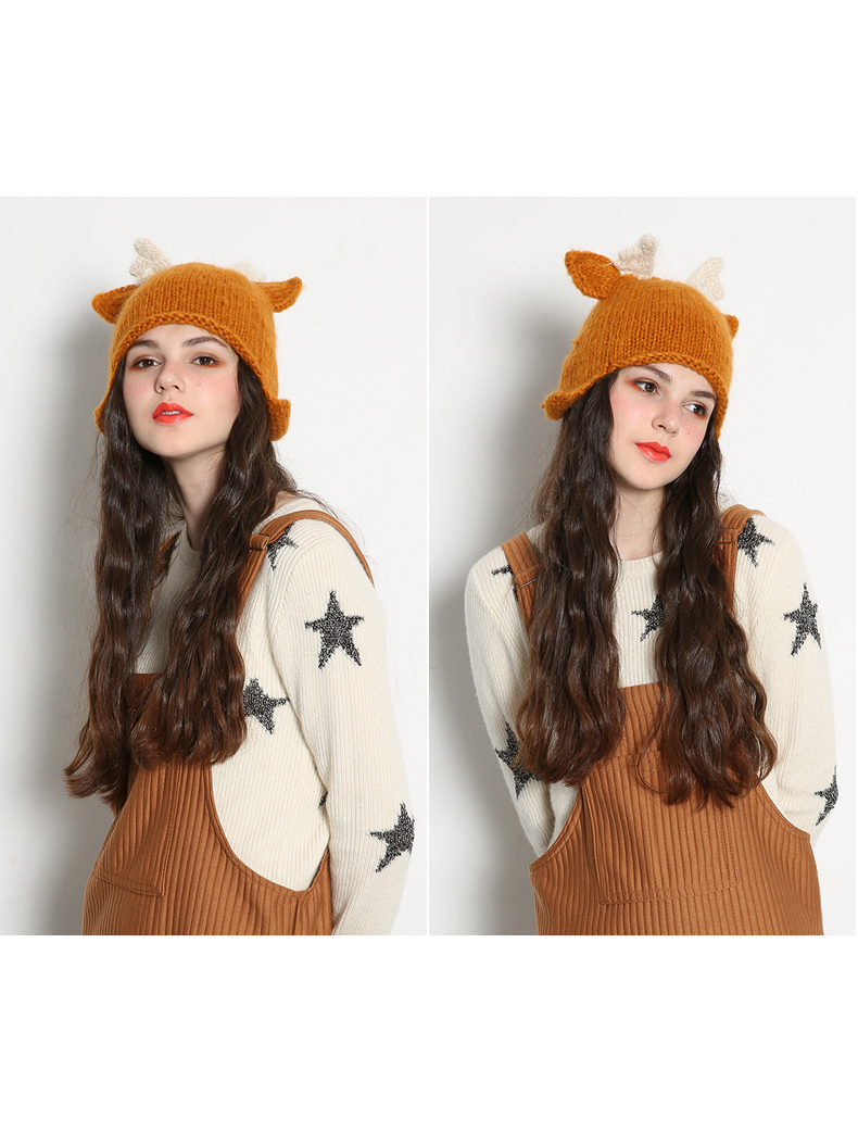 Modakawa Hat Artsy Deer Ear Knit Mask Hat