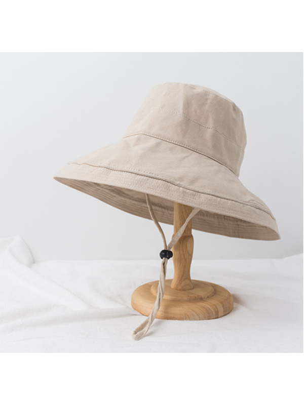 Modakawa Hat Beige Vintage Fisherman Bucket Hat Wide Brim Beach Cap