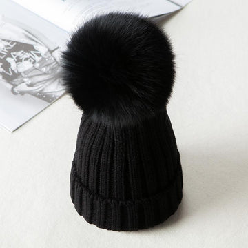 Modakawa Hat Black A / Normal / One Size Fuzzy Ball Knitted Beanie Hat