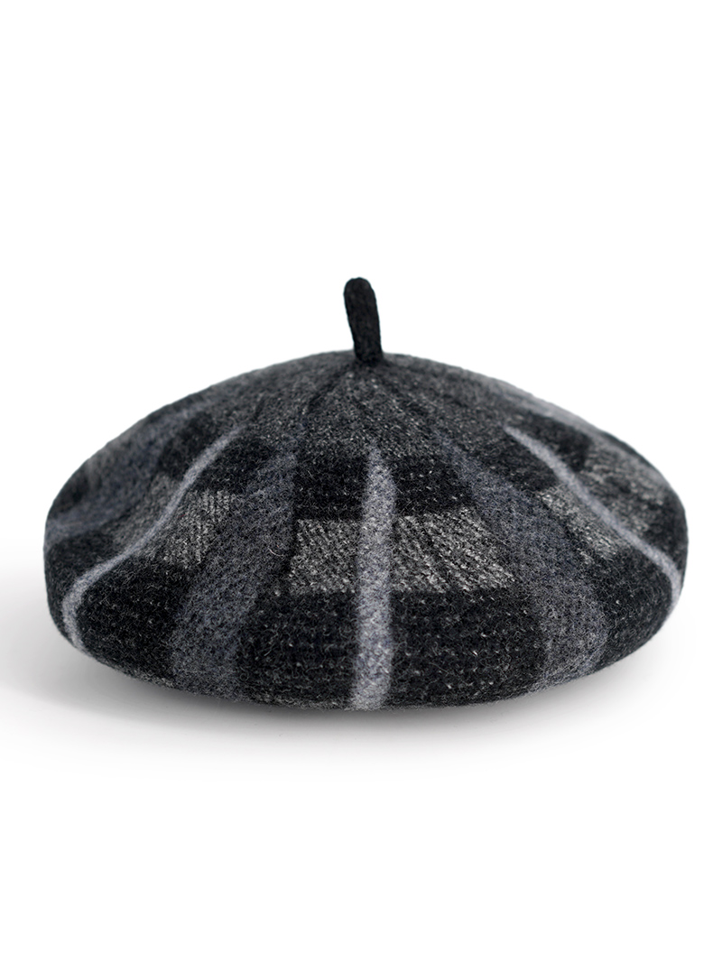 Modakawa Hat Black Artsy Pumpkin Tartan Plaid Beret