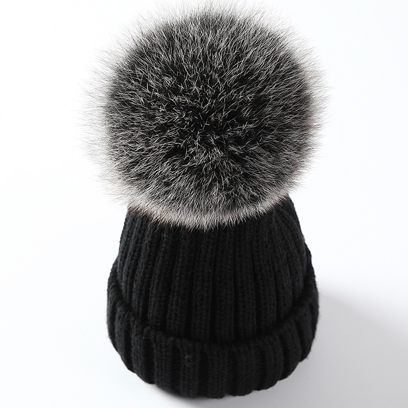 Modakawa Hat Black B / Normal / One Size Fuzzy Ball Knitted Beanie Hat