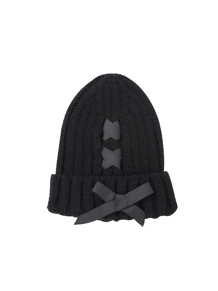 Modakawa Hat Black Bowknot Knitted Beanie Hat