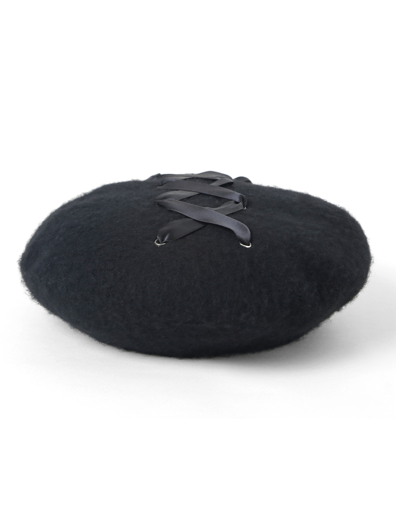 Modakawa Hat Black Flat Top Strappy Beret Hat