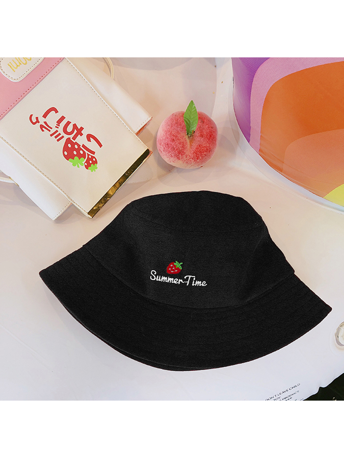 Modakawa Hat Black Strawberry Embroidery Bucket Hat