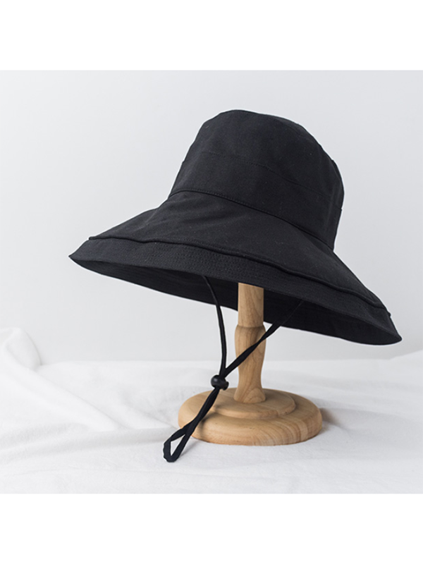 Modakawa Hat Black Vintage Fisherman Bucket Hat Wide Brim Beach Cap