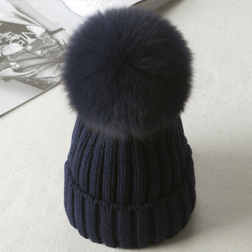 Modakawa Hat Blue / Normal / One Size Fuzzy Ball Knitted Beanie Hat