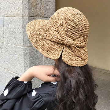 Modakawa Hat Bow-Knot Sunscreen Straw Hat