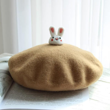 Modakawa Hat Brown / One Size Little Cute Rabbit Beret Hat