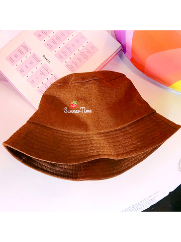 Modakawa Hat Brown Strawberry Embroidery Bucket Hat