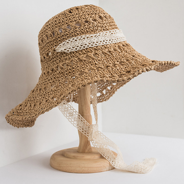 Modakawa Hat Camel Lace Sunscreen Straw Hat