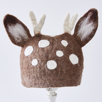 Modakawa Hat Coffee / One Size Artsy Wool Felt Antler Ears Hat