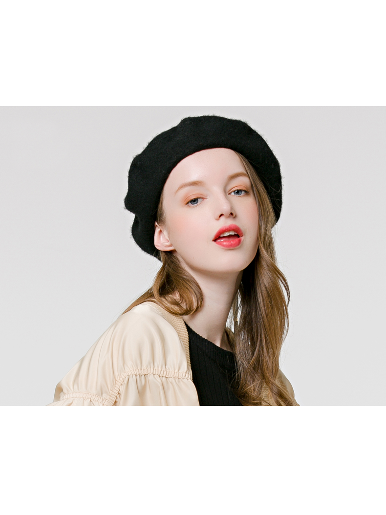 Modakawa Hat Flat Top Strappy Beret Hat