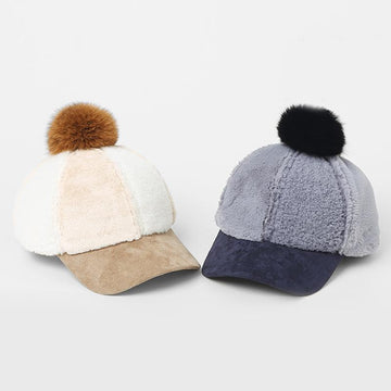 Modakawa Hat Fuzzy Ball Furry Baseball Cap