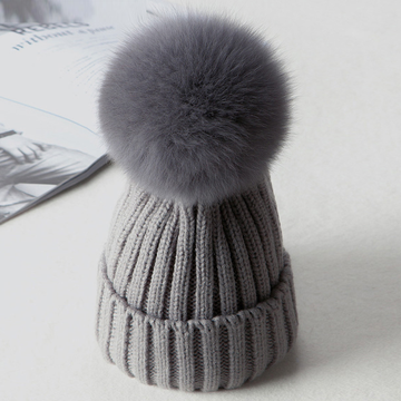 Modakawa Hat Gray A / Normal / One Size Fuzzy Ball Knitted Beanie Hat