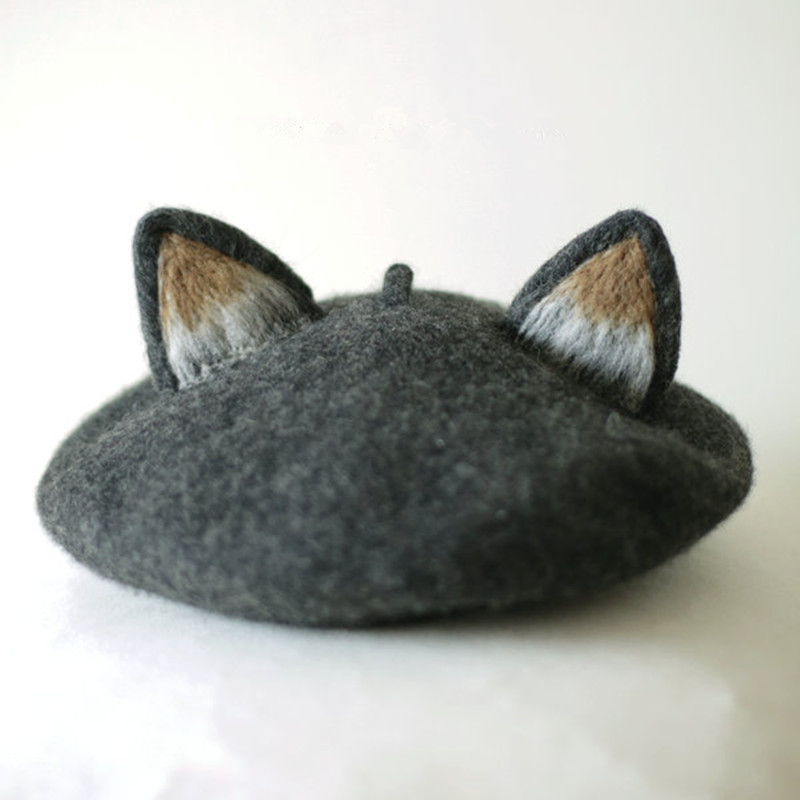 Modakawa Hat Gray Cat Ears Beret Hat