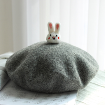 Modakawa Hat Gray / One Size Little Cute Rabbit Beret Hat