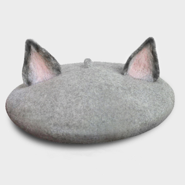 Modakawa Hat Gray / One Size Pink Cat Ears Beret Hat