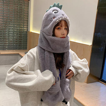 Modakawa Hat Gray with Gloves / One Size Dinosaur Movable Ears Hat Scarf