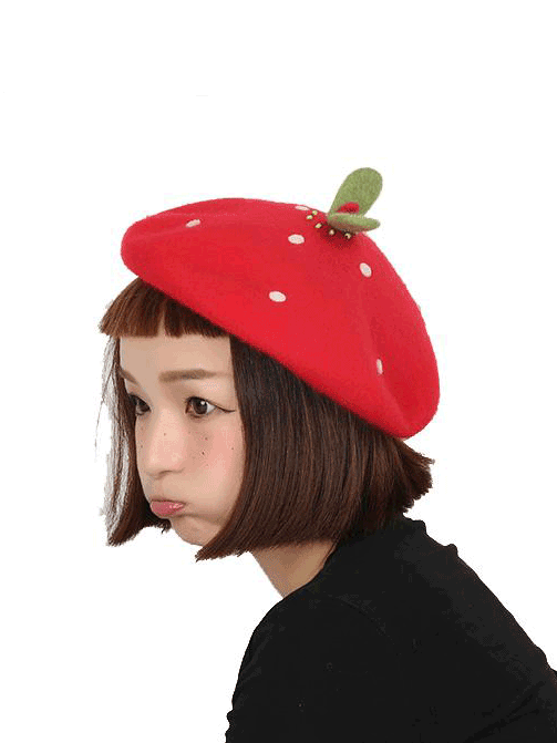 Modakawa Hat Green Bud Dotted Beret Hat