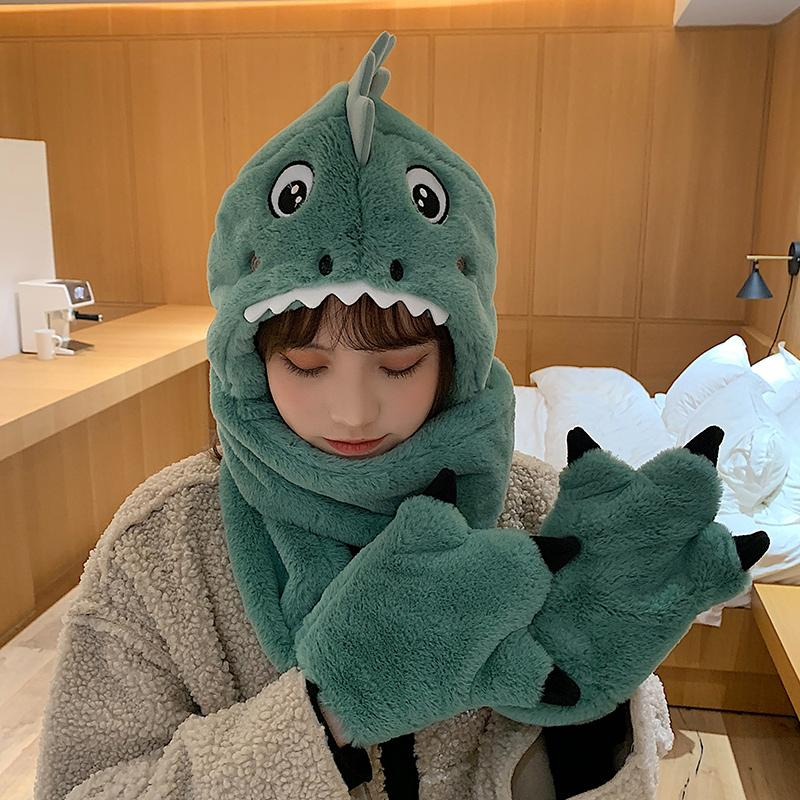 Modakawa Hat Green with Gloves / One Size Dinosaur Movable Ears Hat Scarf