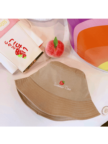 Modakawa Hat Khaki Strawberry Embroidery Bucket Hat