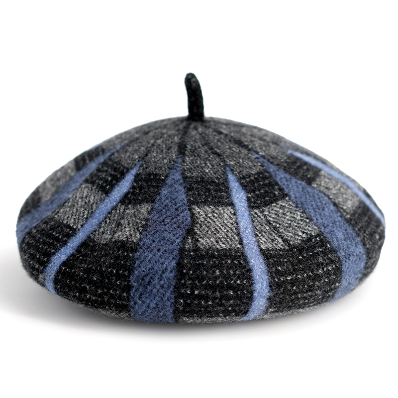 Modakawa Hat Light Blue Artsy Pumpkin Tartan Plaid Beret