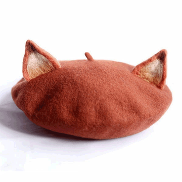Modakawa Hat Light Brown Little Fox Beret Hat