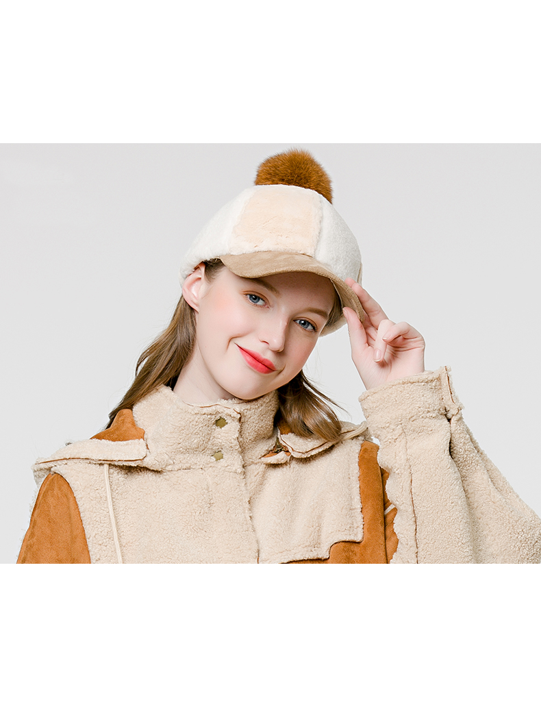 Modakawa Hat Light Camel Fuzzy Ball Furry Baseball Cap