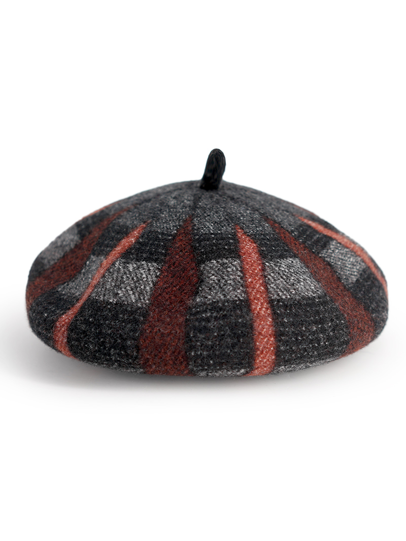 Modakawa Hat Orange Artsy Pumpkin Tartan Plaid Beret