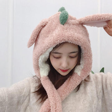 Modakawa Hat Pink / One Size Dinosaur Movable Ears Hat Scarf