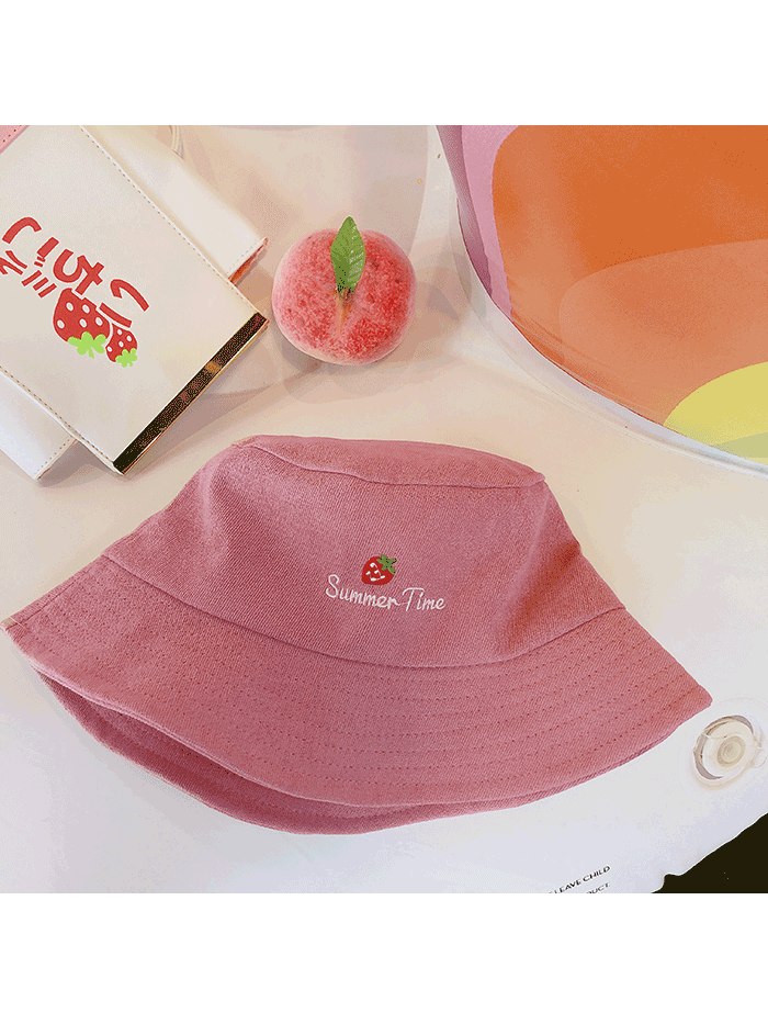 Modakawa Hat Pink Strawberry Embroidery Bucket Hat